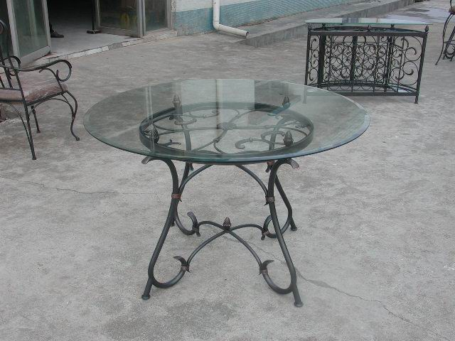 Metal Dining Table with tempered glass