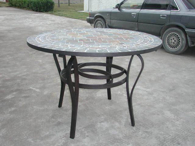 Metal dining table  with Tartan Slate Top in American Furniture Style