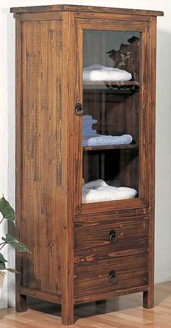 Fir wood bathroom cabinet with 3 shelves,one door and 2 drawers