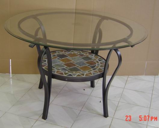 Metal Dining Table with tempered glass & slate shelf