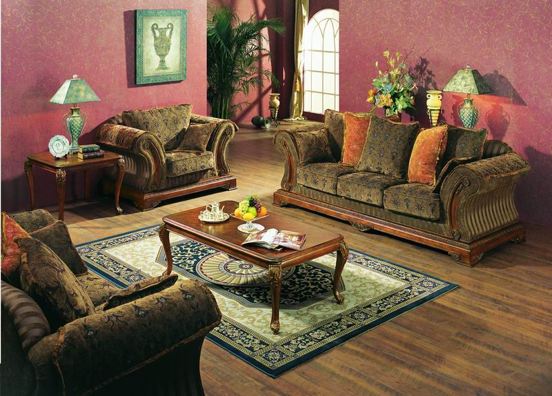 High-grade Sofa collections with carved coffee table