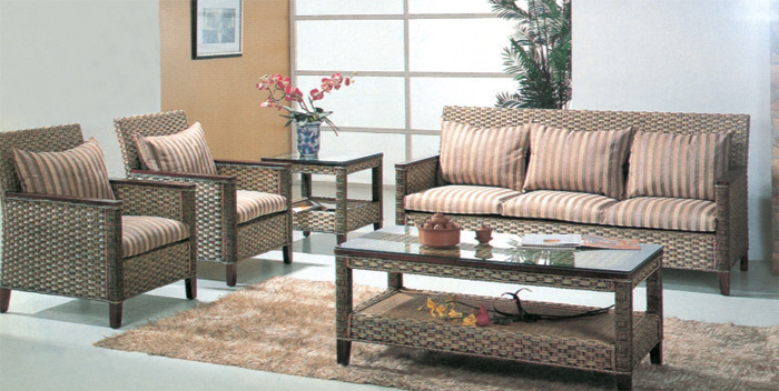 Rattan sofa living room five-piece combination Grey finish with coffee table & end table