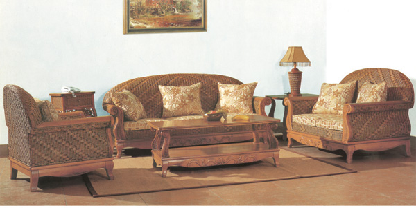 Exposed Solid Wood Frame Carved Sofa Living Room Five Piece Collections ...