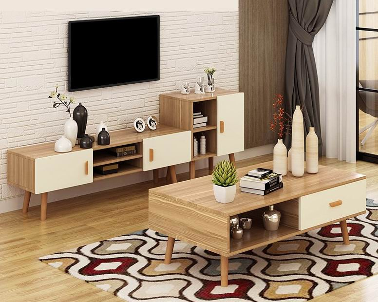 Nordic amorous feelings TV. Cabinet combinations with coffee table