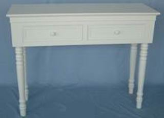 Antique white finish desk with carved legs and 2 drawers