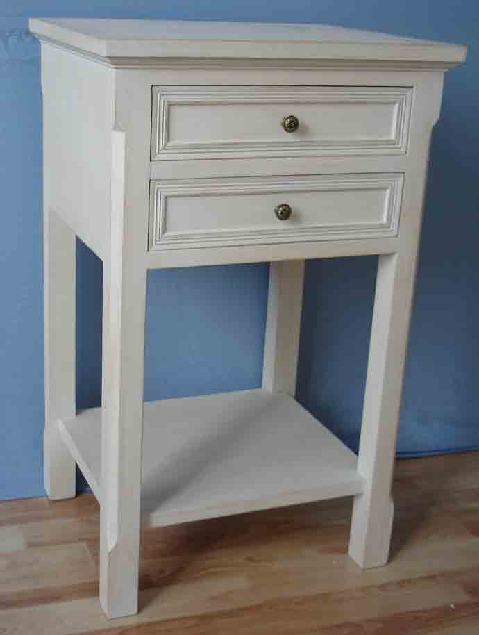 Antique White Finish Phone Table With 2 Drawers And One