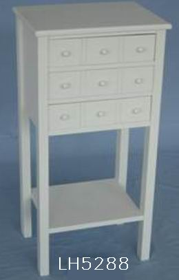 Antique white finish square Phone Table with 3 drawers and one bottom shelf