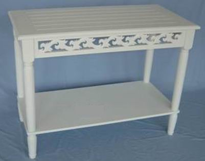 Antique white finish carved coffee table with bottom shelf