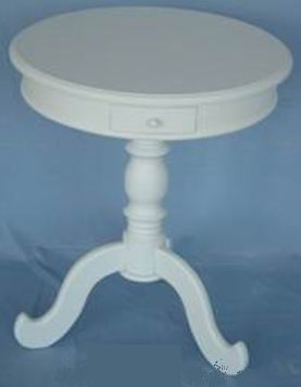 Fully whited covering finish one pedestal Round table with one drawer