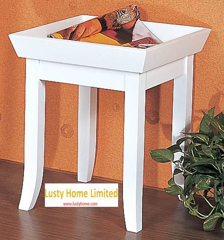 Square coffee table with fruit dish table top fully covering in white paint finish