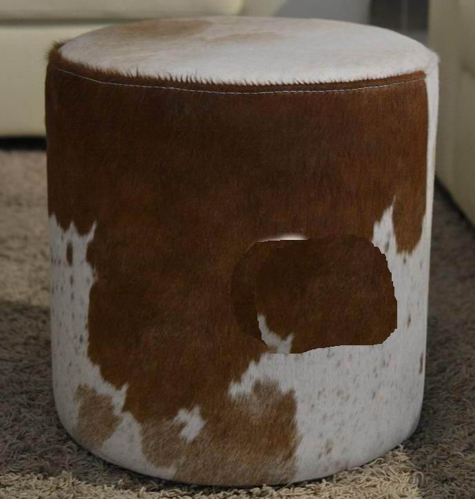 Faux Leather ottoman cylinder shaped