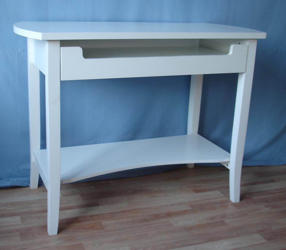 Solid Fir Wood Computer Desk With Keyboard Tray And Bottom
