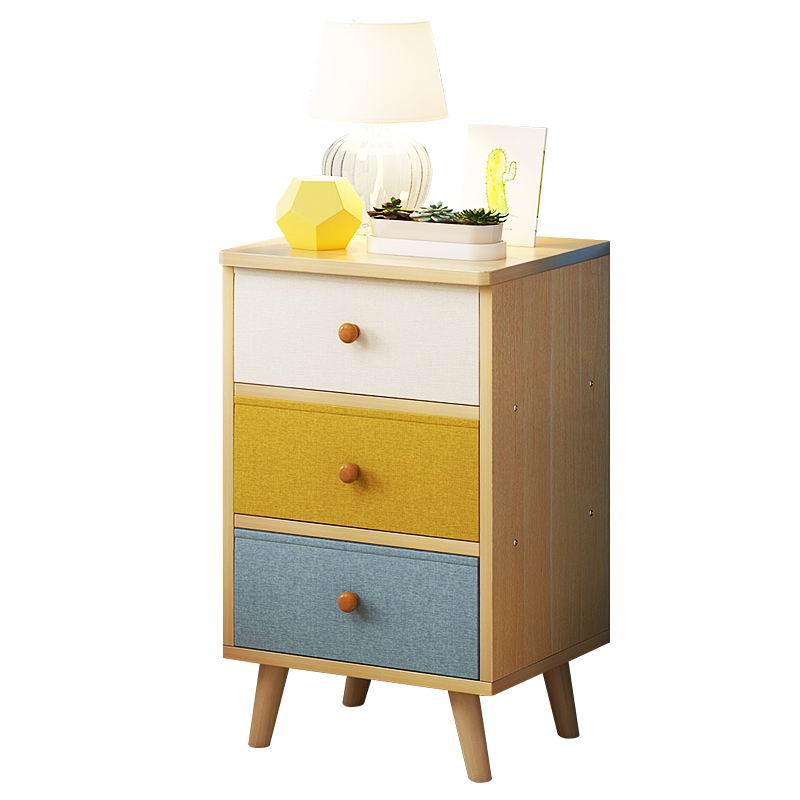 Modern and Popular Nightstand with Fabric Drawer front in Mixed color finish