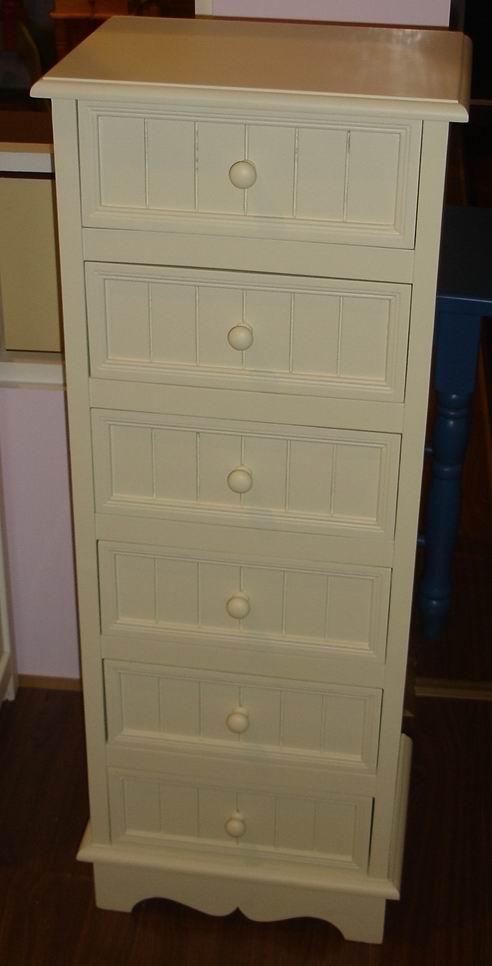 6 drawers cabinet bottom carved with 6 grooves per drawer front