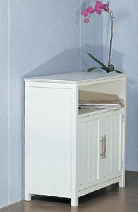cabinet with 2 grooved doors and top storage with fully covering in white paint