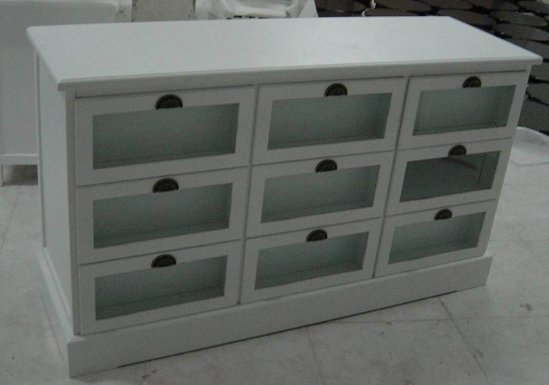 Antique white cupboard(Hutch and Buffet) with 9 plexiglass drawers