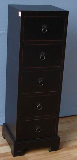 Dark Walnut Cabinet with 5 drawers in red wax finish