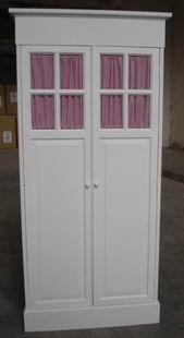 Antique white Kids Wardrobe with 2 doors & curtains