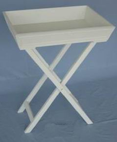 Antique White Finish Stand Tray Can be Folding