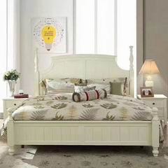 Antique White Carved Legs Queen Bed