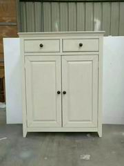 Nordic & Modern Style Cabinet with 2 Drawers & 2 Doors both walnut and antique white finish