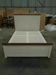 Nordic Style Storage Bed in Walnut and Antique White mixed Finish
